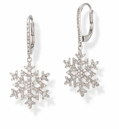 White Gold Snowflake Earrings - The Best Produck Of Earring White Gold Diamond Earrings, White Gold Diamonds, Snowflake Jewelry, Rose Gold Earrings, Bling, Jewelries, Snowflakes, Ice, Wedding Ideas