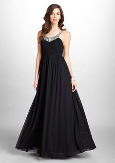 Mikael Aghal Black Sleeveless Beaded Evening Gown