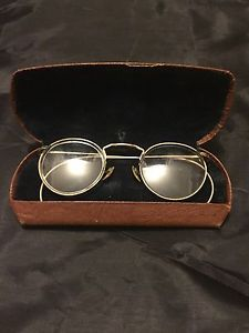 cfc30b82978 Antique Round Frame Wire Eyeglasses 12K Gold Filled John Lennon Style