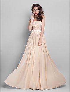 Free Measurements ! Sheath/Column Strapless Floor-length Georgette Bridesmaid Dress (910061) - USD $ 99.99