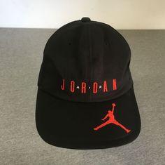 5c60ad32b9a Details about Nike Air Jordan Hat 1992 Vtg Adjustable Strap Back Japan  RARE! Black Large EUC