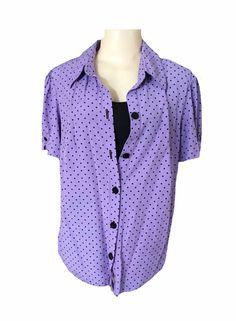 Dressbarn Woman Purple Black Short Sleeve Polka Dot Inset Tank Blouse Size 14 16 | eBay