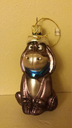 Disney Winnie the Pooh Donkey Eeyore Blown Glass Christmas Ornament