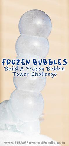 Frozen Bubble Tower Challenge - Learn all the secrets behind perfect frozen bubbles - Frozen Activities, Bubble Activities, Forest School Activities, Activities For Adults, Winter Activities, Stem Activities, Challenge For Teens, Math Challenge, Freezing Bubbles