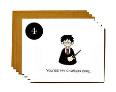 Harry Potter set of 4 notecards  funny by DarkroomandDearly