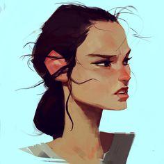 A sketch of Rey, that girl from Star Wars 7.. hype #rey #starwars #digitalpainting #thatjaw 24/100.