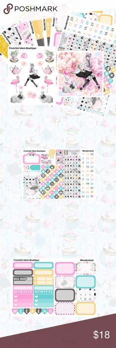 """Wonderland Kit, Erin Condren Planner Stickers """"Wonderland""""  This kit includes 7 sheets and 2 freebies. It's a total 250+ stickers. They are made to fit the vertical ECLP. They are printed on non-removable glossy sticker paper. The decorative page flags are made to fit the EC neutral planner.   Seven page kit includes: Full Boxes Full Ombre Heart Checklists Headers/Little Things Half and Quarter Boxes/Habits Date Covers/Mini Icons Washi Glitter Headers/Flags/Quarter Boxes  Extras included are…"""