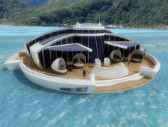 Solar floating resort with underwater observance area.