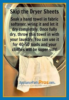 Good to know: Soak hand towel in fabric softener, wring it and let it dry completely. Once fully dry, throw this towel in with your laundry. you can use it for 40-50 loads and your clothes will be super soft!
