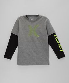 Another great find on #zulily! Hurley Heather Medium Distressed Logo Layered Tee - Toddler by Hurley #zulilyfinds