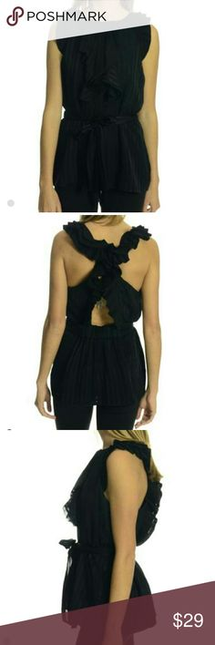 BCBG Max Azria top Silk BCBG Max Azria black ruffled top BCBGMaxAzria Tops