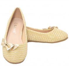 7c9e807a727e Little Girls Gold Glitter Texture Bow Casual Slip On Flats 9-10 Toddler 4  Kids