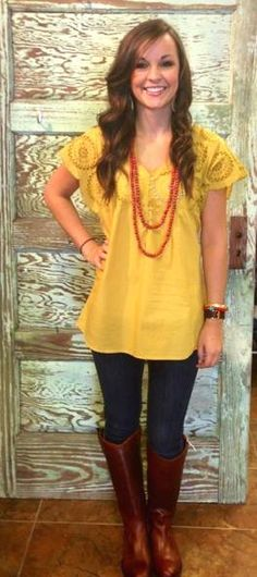 Jordan wearing our new Mustard Top, Faire Necklace, and Frye Boots!!  Now available at Emma Laura-Graceful Gold located in Ivy Place 2032B Veterans Blvd. Dublin, GA 31021 478-272-2095 www.emmalaura.com Check us out on Facebook at https://www.facebook.com/pages/GRACEFUL-GOLD-JEWELRY-CO/163839008625