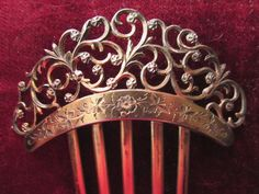ANTIQUE STERLING SILVER ORNATE HAIR COMB ENGRAVED DATED DEC 25 1890 18 GRAM