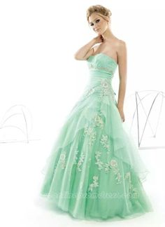 Mint green strapless with white floral design
