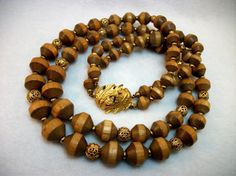 Wood Bead Tiered Necklace - Vintage 60s from Two Dog Vintage on Etsy