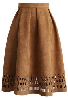 Geo Cutout Suede Pleated Midi Skirt in Tan - New Arrivals - Retro, Indie and Unique Fashion