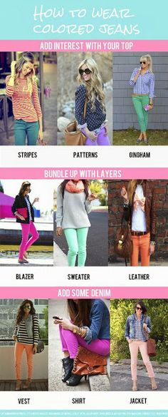 Different ways to wear colored jeans | Fashion World