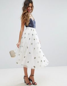 Tulle midi skirt  White with small floral print  ASOS  $55