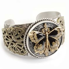 Sweet Romance Two-tone Black Enamel Butterfly Cuff Bracelet