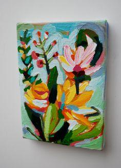 Plan Original Miniature Acrylic Painting by KreativeKatherine
