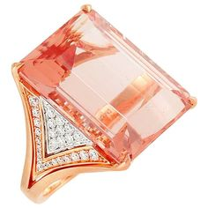 Frederic Sage Carat Morganite Diamond Rose Gold Cocktail Ring For Sale Trendy Fashion Jewelry, Fashion Jewelry Necklaces, Fashion Rings, Jewelry Rings, Jewelry Ideas, Fashion Jewellery, Jewelry Findings, Vintage Style Rings, Wedding Rings Vintage