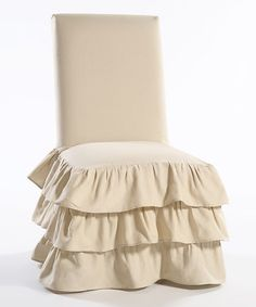 Ruffle Dining Room Chair Slipcover Would Be A Nice Vanity Cover
