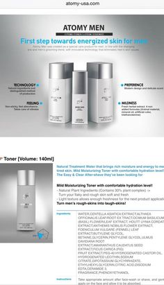 59 Atomy Men Set  Toner [Volume: 140ml]  Essence [Volume: 45ml]: Brightening and firming double functional cosmetic]  Lotion [Volume: 140ml]