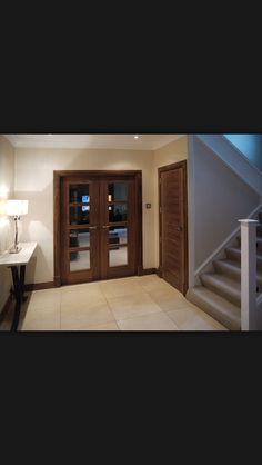Doors to living room Walnut Doors, House Gate Design, Double Doors Interior, Architrave, Kitchen Doors, Internal Doors, Entrance Doors, Wooden Doors, Home Living Room
