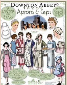 Downton Abbey: Aprons & Caps book featuring authentic patterns for 9 aprons and 5 caps, by e Vintage Patterns. Vintage Apron Pattern, Retro Apron, Aprons Vintage, Vintage Sewing Patterns, Apron Patterns, Dress Patterns, Downton Abbey, Cute Aprons, Sewing Aprons