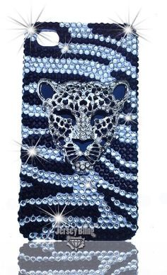 ZEBRA LUXURY 3d w/Leopard, Lion Detail Handmade Crystal & Czech Rhinestone Iphone 4 case, cover, w/HUGE Stones & Gems by Jersey Bling:Amazon:Cell Phones & Accessories