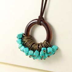 Long Necklace With Wood Beads