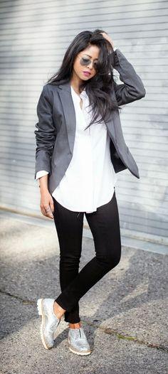 Grey Supereb Cool Blazer   Sparkle Boots / Best LoLus Street Fashion