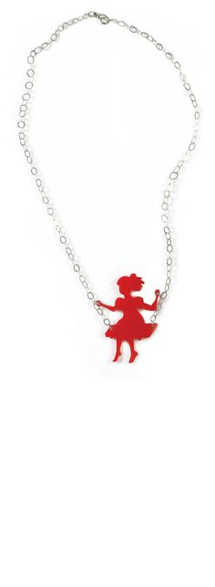 Red girl on a swing - FREE SHIPPING - red plexiglas necklace with silver nickel chain on Etsy, $39.00