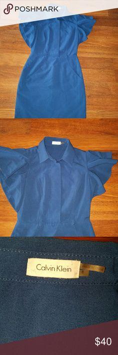 Calvin Klein blue ruffled sleeve dress Calvin Klein blue ruffled sleeve dress Calvin Klein Dresses Midi