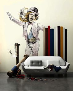 Wonderful Circus Themed Wall Sticker Designs: Fancy Modern Wall Sticker Collection White Grey Sofa