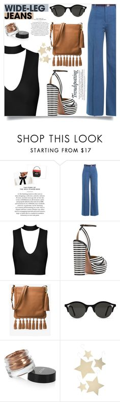 """""""Flare Up: Wide-Leg Jeans"""" by lilyvega-p ❤ liked on Polyvore featuring Marc Jacobs, Aquazzura, MICHAEL Michael Kors, RetroSuperFuture, Inglot, Bethany Lowe, denimtrend and widelegjeans"""