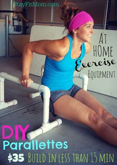 This is a great workout using parallettes and they are SO easy to make to add to your at home gym!
