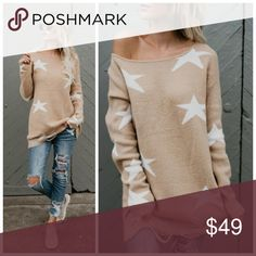 """New camel distressed sweater w ivory stars So boho and designer looking is our Stargirl Sweater! The camel hue combined with the ivory stars throughout this sweater creates a bold contrast that would be perfectly stylish with black skinnies and black booties for a little edge! We especially love the distressing along the hemline.    Size Small: 31"""" from shoulder to hem 65% Acrylic, 25% Nylon and 10% Polyester Model is 5'7"""" and wears a Small Danalli Sweaters"""