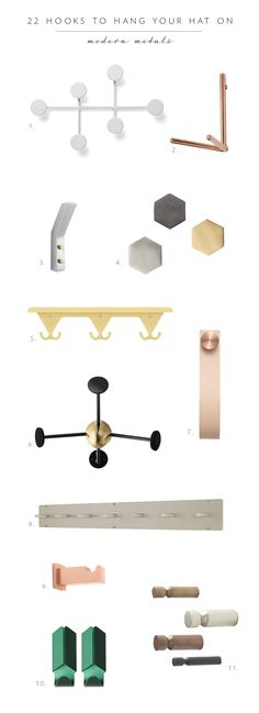 Roundup: 22 coat racks and hooks in mixed metals and warm wood. via coco + kelley