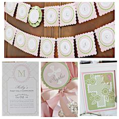 First Communion/ Baptism party decorations. Boutique 4 piece religious decor box. Girl / Pink / Green / Ivory. Assembled and customizable. by CharmingTouchParties on Etsy