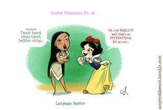 Pocket Princesses by Amy Mebberson # If Disney princesses lived together: Pocahontas and Snow White Disney Pixar, Walt Disney, Disney Memes, Cute Disney, Disney Girls, Disney And Dreamworks, Disney Magic, Disney Art, Funny Disney