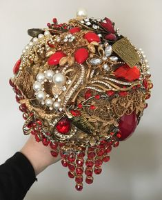 Red and gold Brooch keepsake alternative bridal bouquet. www.bouquetchicunique.co.uk