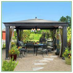 Modern Patio Furniture Gazebo 10u0027 x 10u0027 Party Pavilion Outdoor Canopy Tent Steel | Outdoor canopy tent and Gardens & Modern Patio Furniture Gazebo 10u0027 x 10u0027 Party Pavilion Outdoor ...