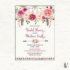 bohemian baby shower invitation boho baby shower invite watercolor flowers engagement high tea garden party flo13