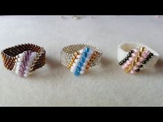 Dear Diamond Ring Beading Tutorial by (with superduo beads) Diy Beaded Rings, Diy Rings, Beaded Bracelets, Tutorial Anillo, Ring Tutorial, Seed Bead Jewelry, Bead Earrings, Handmade Rings, Handmade Jewelry