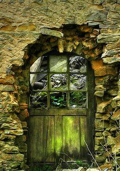 Olive green door in stone facade