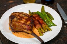Grilled Veal Chop with Roasted Red Pepper Sauce by Another Pint Please