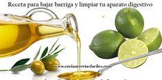 Receta para bajar barriga y limpiar tu aparato digestivo.  Tomar en ayunas: 1 cucharadita de aceite de oliva + 1/4 de vaso de agua tibia + Unas cuantas gotitas de limón