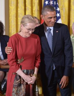 "President Obama on Meryl Streep: ""I love her. Her husband knows I love her. Michelle knows I love her. There's nothing either of them can do about it."""